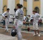 Fencing in a German Castle Courtyard